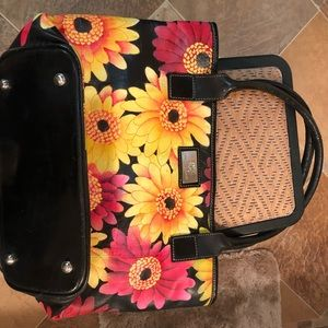 Cute leather floral tote